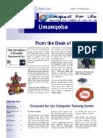 Conquest for Life Umanqoba October - November 2011 Newsletter.p
