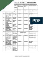 Exam Schedule for 2012 13
