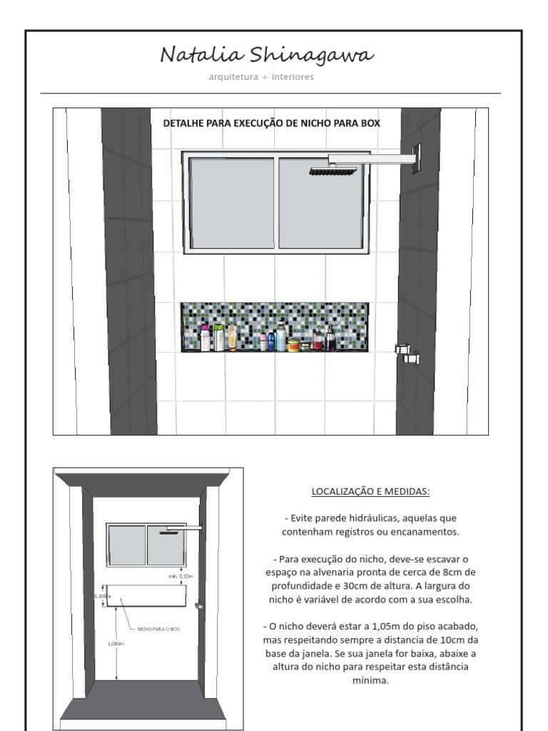 Consultoria Detalhamento Nicho Box -> Nicho Banheiro Box Medidas