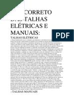 USO CORRETO DAS TALHAS ELÉTRICAS E MANUAIS