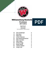 Williamsburg Basketball Freshman Roster 11-12