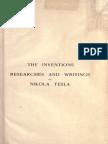 Nikola Tesla the Inventions Researches and Writings of Nikola Tesla
