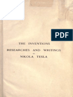 Nikola Tesla the Inventions Researches and Writings of Nikola Tesla
