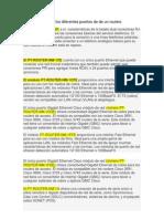 Características de los diferentes puertos de de un routers