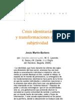 Crisis identitarias y transformaciones de la subjetividad