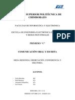 Disertación, conferencia y ortatoria