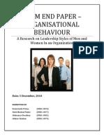 Organisational Behaviour - Term End Paper