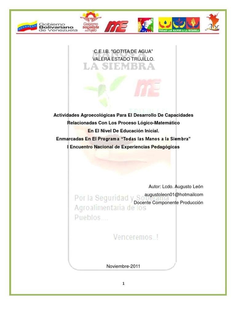 Todas Las Manos a La Siembra, Actividades Agroecológicas para ...