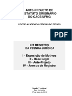 PROTÁSIO VARGAS - PROPOSTA DE ANTEPROJETO DE ESTATUTO DO CACE-UFMG -  VER 7 - 27052010