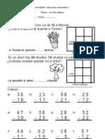 Actividades educación matemática suams y restas con 2 dgitos