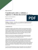 Considerações sobre a validade, a vigência e a eficácia das normas jurídicas