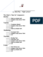 Night Letters Work Plan