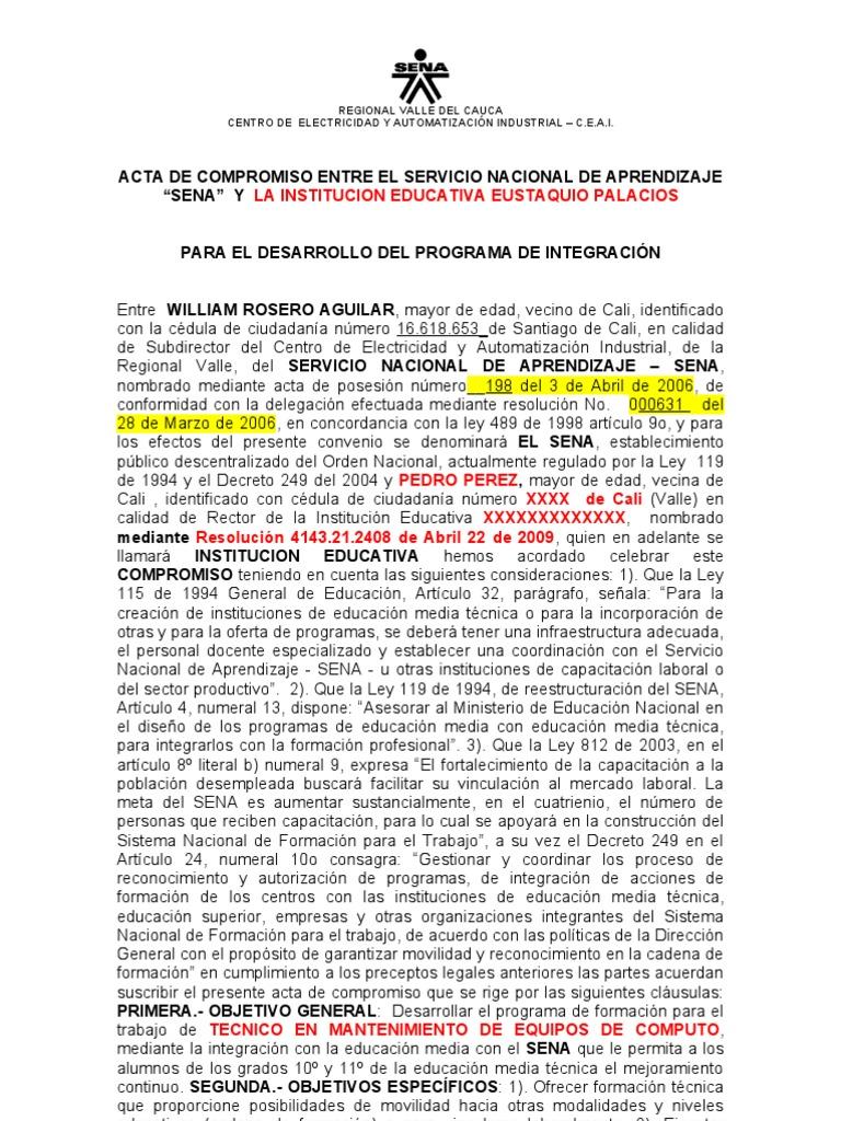 Acta de so Institucion Educativa y Sena