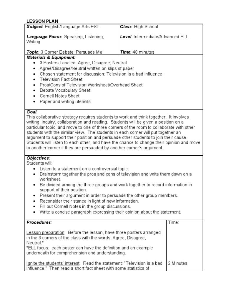 Lesson Plan Final Draft Lesson Plan Reading Comprehension
