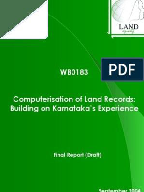 Computer is at Ion of Land Records Karnataka's Experience