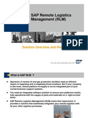 SAP RLM Overview   Ibm Db2   Logistics