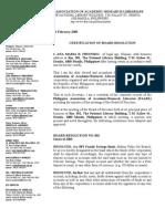 Secretary's Certification of Board Resolution
