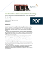 Toll Avoidance and Transportation Funding, Sightline Institute, September 2011