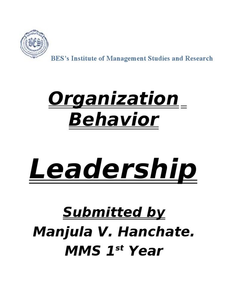 Organization Behavior: Leadership