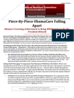 Piece-By-Piece ObamaCare Falling Apart