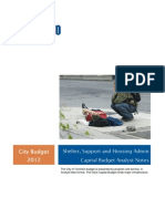 Toronto Shelter, Support and Housing Admin Capital Budget Analyst Notes Budget 2012