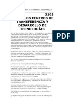 LEY DE LOS CENTROS DE TRANSFERENCIA Y DESARROLLO DE TECNOLOGÍAS