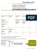 December 2011 Workshop Calendar