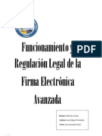Funcionamiento y Regulación Legal de la firma electronica avanzada