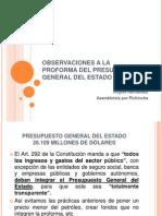 OOBSERVACIONES A LA  PROFORMA DEL PRESUPUESTO GENERAL DEL ESTADO 2012