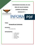 Informe Demografia x Continentes
