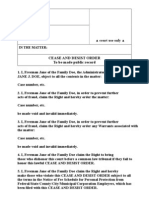 Generic Cease and Desist Order; Use with Fee Schedule