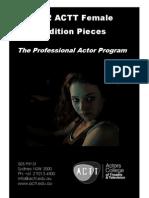 2012 ACTT Female Audition Pieces
