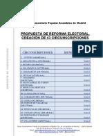 Listado de Circunscripciones del proyecto de reforma de la Ley Electoral de la Comunidad de Madrid