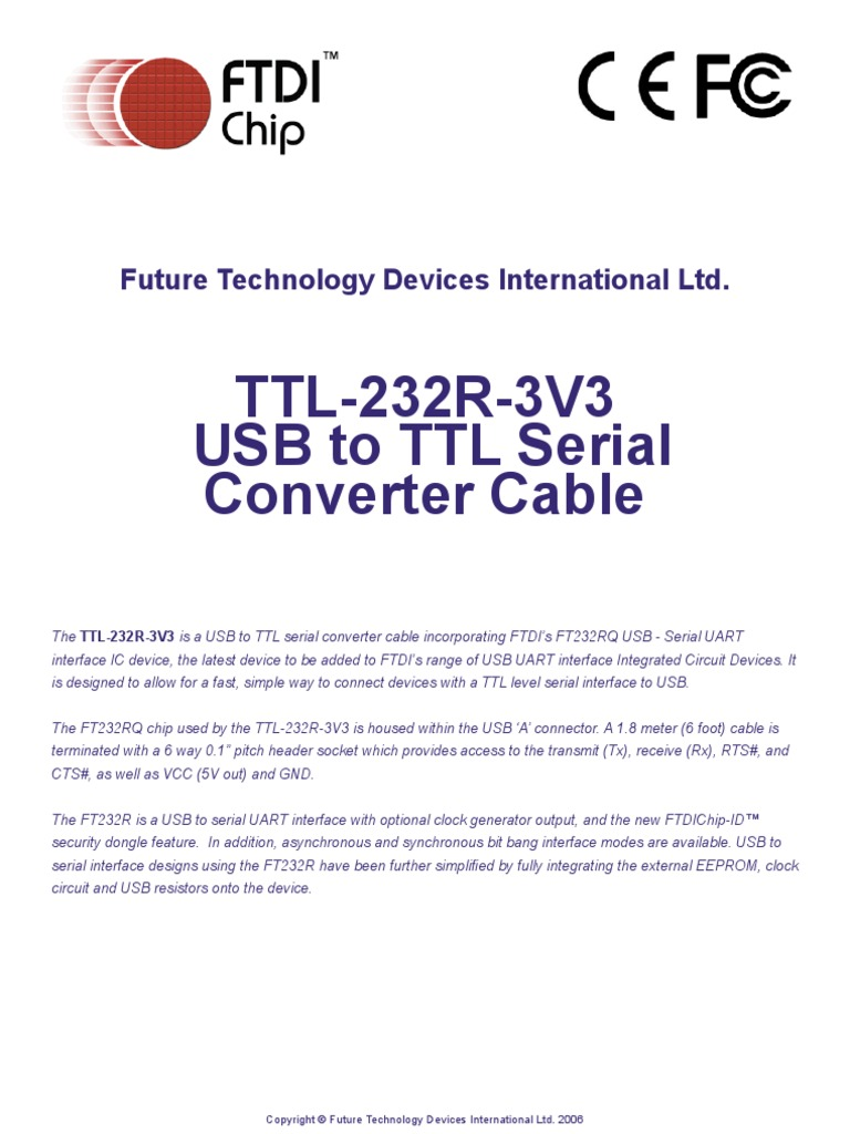 Ttl232r3v3 Usb Device Driver To Serial Converter Circuit