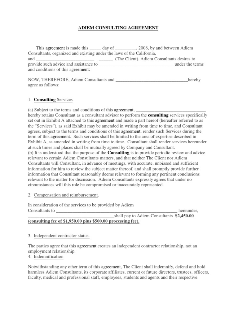 Adiem Consulting Agreement Indemnity Confidentiality