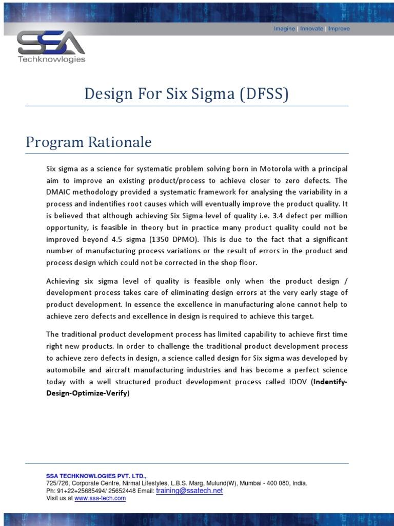 Dfss Design For Six Sigma Six Sigma
