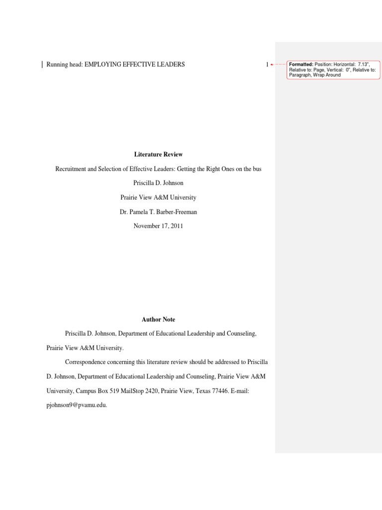 Literature Review-Recruiting and Selection-PJohnson