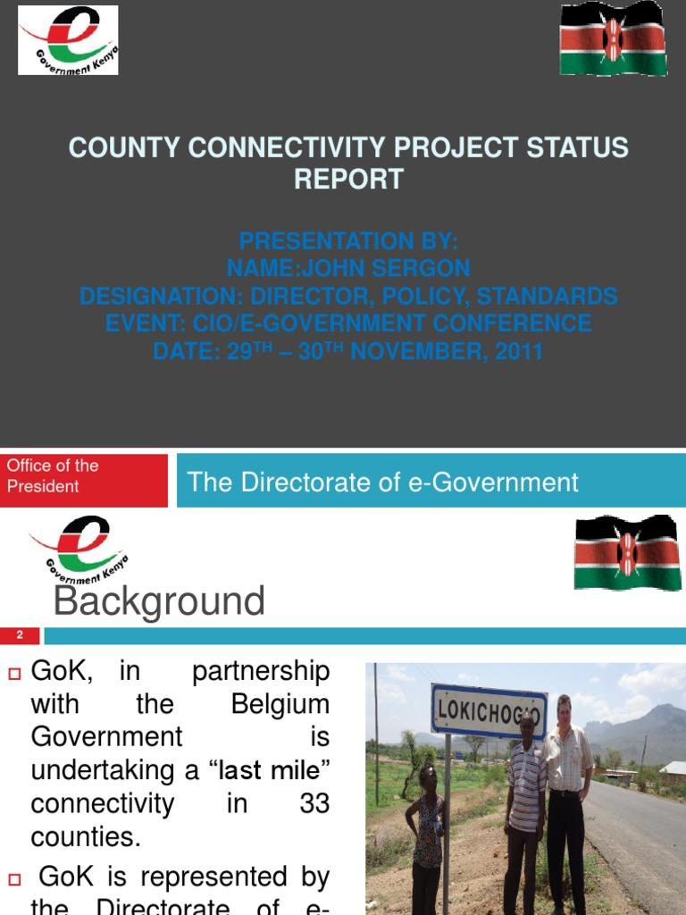 CIO 100 2011-County Connectivity Project Status-John Sergon