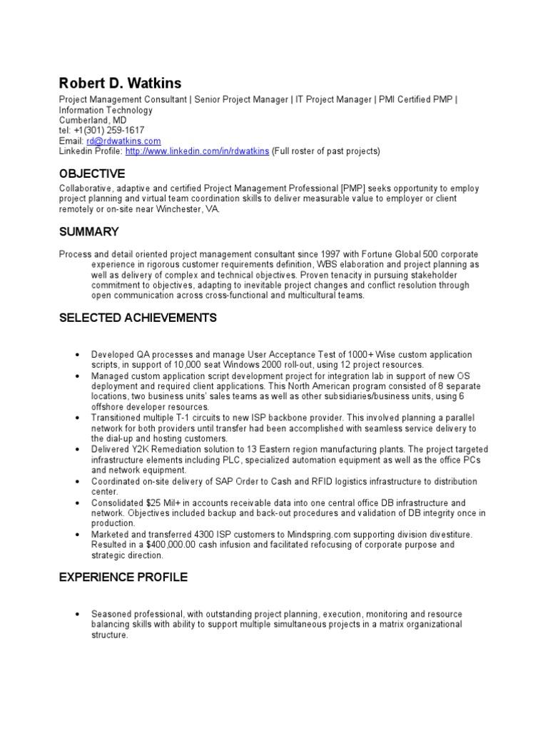 Resume Comp Tia Project Management