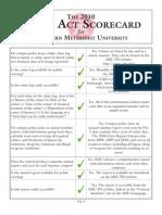 2010 Clery Act Scorecard for Southern Methodist University