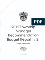 2012 Radnor Township Manager Budget Recommendation Report