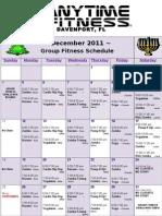 December Group Fitness Calender