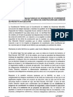INFORME INSPECCION DE TRABAJO SOBRE OBLIGATORIEDAD DE DESIGNACIÓN DE COORDINADORES DE SEGURIDAD Y SALUD