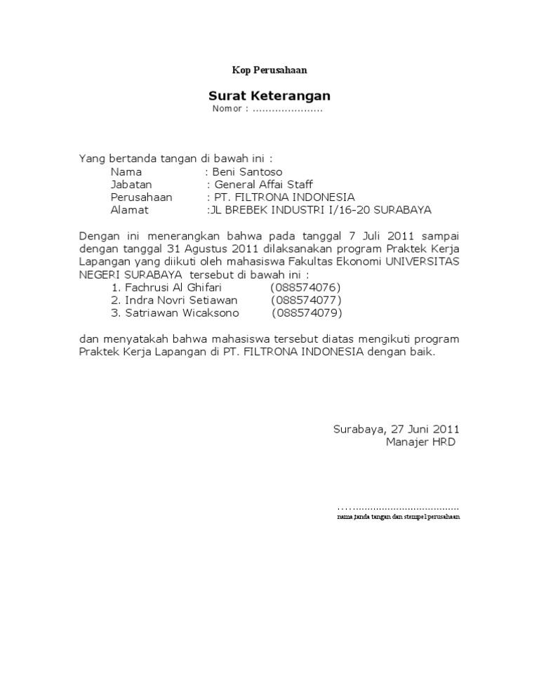 Contoh Surat Balasan Pkl
