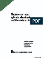 Mecanica de Rocas en La Mineria Subterranea