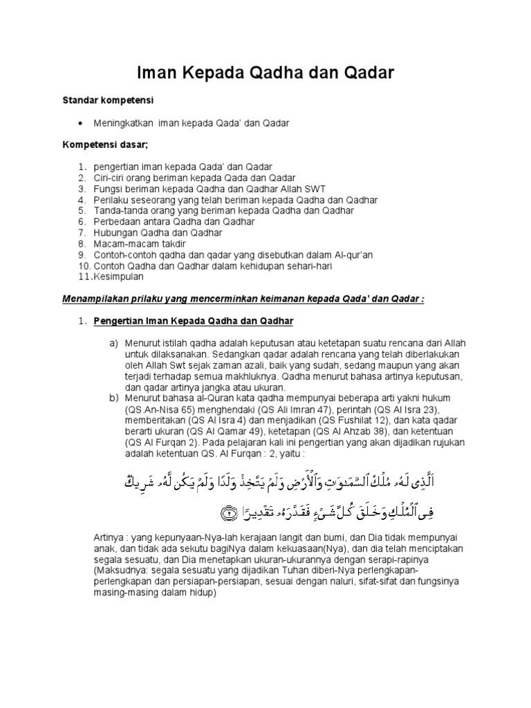 Contoh Soal Iman Kepada Qada Dan Qadar Berbagi Contoh Soal