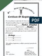 Kidney Transplant  Registered Certificate
