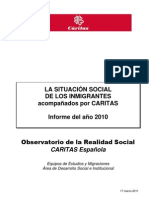 La situación social de los inmigrantes acompañados por Cáritas 2011
