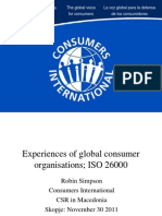 Experiences of global consumer organisations; ISO 26000