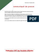 Communiqué de presse sur la mobilisation du 1er décembre 2011 dans les centres d'appels prestataires